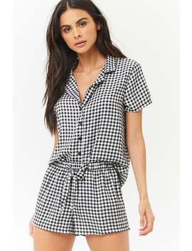 Gingham Satin Pyjama Set by Forever 21
