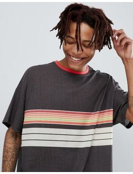 Asos Design Oversized Retro Stripe T Shirt In Textured Fabric by Asos Design