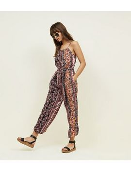 Black Floral Balloon Leg Jumpsuit by New Look