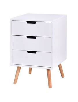 Giantex White Side End Table Nightstand With Drawers Mid Century Accent Wood Furniture (W/3 Drawers) by Giantex