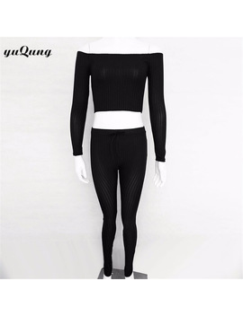 Yuqung 2017 Autumn Winter Women Tracksuit 2 Piece Set Clothing Long Sleeve Knitted Crop Top+Long Pants Sportswear Suit L79 by Yuqung
