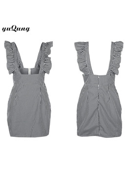 Yuqung Summer Womens Vintage Sleeveless Plaid Dress New Ruffle Backless Bodycon Mini Dress Hot Short Sundress Robe Vestidos O61 by Yuqung