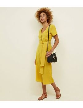 Cameo Rose Mustard Horn Button Front Culotte Jumpsuit by New Look