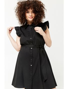Plus Size Ruffle Sleeve Shirt Dress by Forever 21