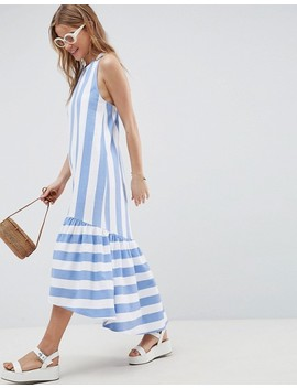 Asos Design Maxi Dress With Racer Back And Hi Lo Pep Hem In Deckchair Stripe by Asos Design