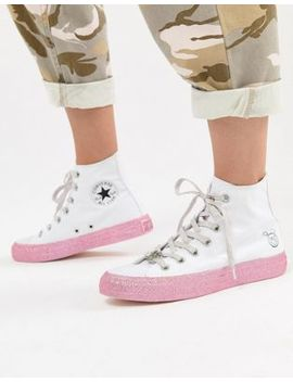 Converse X Miley Cyrus Chuck Taylor All Star Hi Sneakers In White And Silver Glitter by Converse