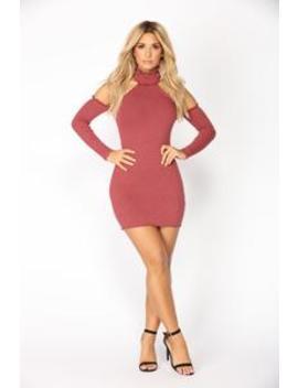 Tania Ribbed Dress   Red Brown by Fashion Nova