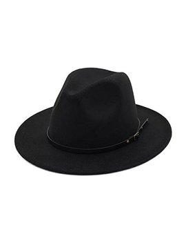 Lanzom Womens Classic Wide Brim Floppy Panama Hat Belt Buckle Wool Fedora Hat by Lanzom