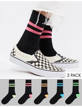 Asos Design Tube Style Socks In Summer Weight In Black & Super Bright Stripes 5 Pack by Asos Design