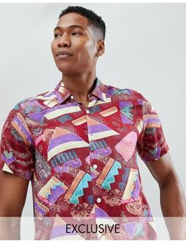 Reclaimed Vintage Inspired Shirt With Abstract Print And Short Sleeves by Reclaimed Vintage