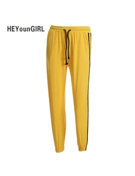 He Youn Girl Satin Ribbons Striped Sweatpants High Waist Elastic Women Pants Casual Fashion Harem Trousers Femme Pantalon Femme by Heyoungirl
