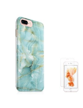 "I Phone 8 Plus Case I Phone 7 Plus Case (5.5"") U Color Mint Jade Marble Slim Hard Shell Soft Tpu Dual Layer Protective Case For I Phone 7 Plus/8 Plus With Slim Tempered Glass Screen Protector by U Color"