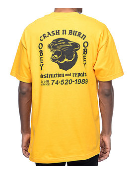 Obey Crash &Amp; Burn Gold T Shirt by Obey