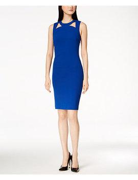 Cutout Scuba Crepe Sheath Dress by Calvin Klein