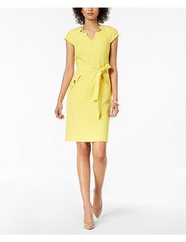 Belted Sheath Dress by Kasper