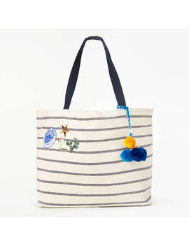 Star Mela Tami Large Tote Bag, Ecru/Navy by Star Mela
