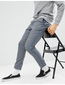 Asos Design Skinny Pants In Gray Check With Elasticated Waist by Asos Design