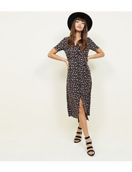 Black Ditsy Floral Button Through Midi Dress by New Look