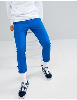 Asos Design Slim Cropped Chinos In Bright Blue by Asos Design