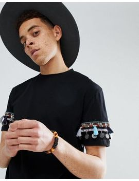 Asos Design Festival Relaxed Longline T Shirt With Geo Tribal Coin Sleeve Taping by Asos Design