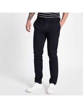 Navy Slim Fit Chino Trousers by River Island