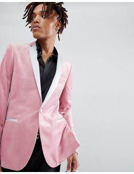 Asos Super Skinny Blazer In Dusky Pink Velvet by Asos