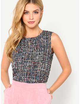 Button Keyhole Back Tweed Shell Top by Shein