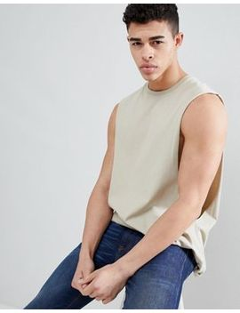 Asos Design Longline Tank With Extreme Dropped Armhole In Beige by Asos Design