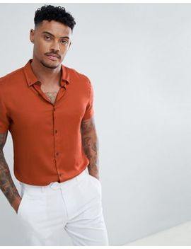 River Island Regular Fit Shirt In Burnt Orange by River Island