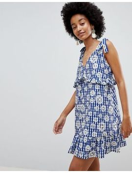 Asos Design Tie Strap Sundress With Pep Hem In Floral Gingham by Asos Design