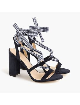 Wrap Around Heels (100mm) In Gingham by J.Crew