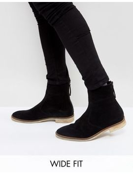 Asos Design Wide Fit Chelsea Boots In Black Suede With Natural Sole by Asos