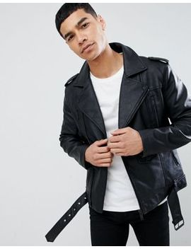 Bershka Faux Leather Biker Jacket In Black by Bershka
