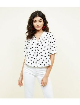 White Spot Print V Neck Shirt by New Look