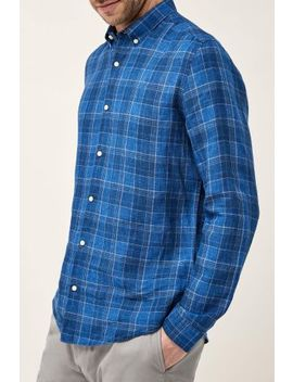 Navy Check Long Sleeve Pure Linen Shirt by Next