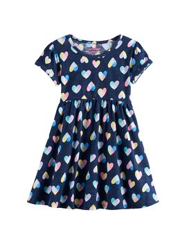 Toddler Girl Jumping Beans® Roll Cuff Shirred Dress by Toddler Girl Jumping Beans