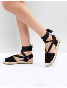 Raid Chrisy Black Ankle Tie Espadrilles by Raid