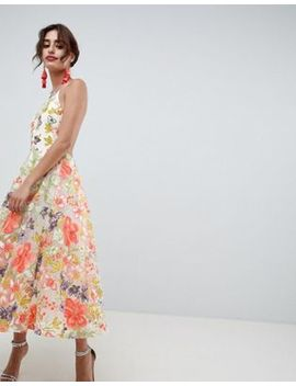 Asos Edition Floral Embroidered Halter Prom Midi Dress by Asos Edition