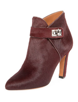 Shark Calf Hair Ankle Boot, Oxblood Red by Neiman Marcus