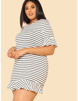 Ruffle Cuff And Hem Striped Dress by Shein
