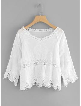 Hollow Out Crochet Panel Top by Romwe