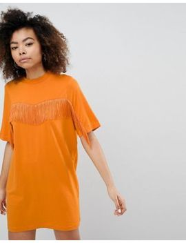 Monki Fringe T Shirt Dress by Monki