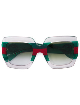 Green And Red Square Frame Acetate Sunglasseshome Women Accessories Sunglasses by Gucci Eyewear