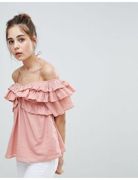 Asos Design Off Shoulder Top With Ruffle Detail by Asos Design