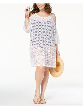 Plus Size Boho Mood Sheer Cold Shoulder Cover Up by Dotti