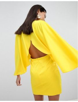 Asos Satin Cape Kimono Sleeve Deep Plunge Mini Dress by Asos Collection