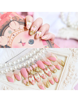 Hot Sale 24pcs/Set Pink White Bow Glitter Pearl Rhinestone Chain Resin Nail Art False Fake Nail Tips Stickers With Glue by Klimonla