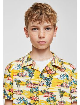 Palm Trees Printed Shirt by Mango