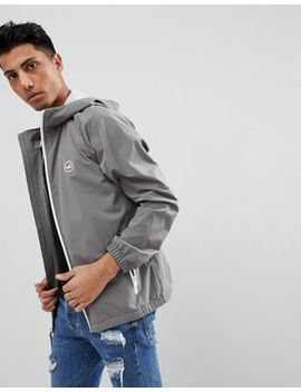Hollister Hooded Windbreaker Jacket With Icon Seagull And Sleeve Logo In Grey by Hollister