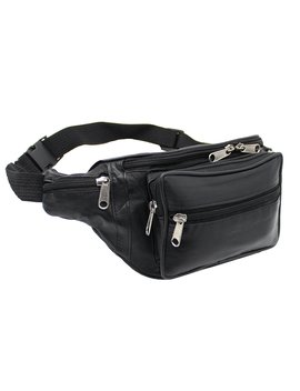 Ras Genuine Soft Black Leather Extra Large Quality Travel Waist Bum Bag Money Pouch Adjustable Belt   1006 by Amazon